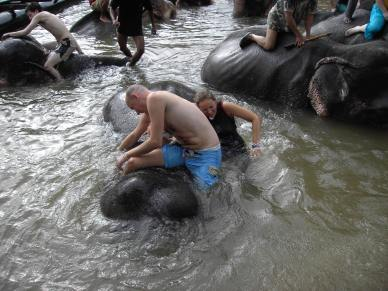 Olifant in bad doen Kanchanaburi Thailand